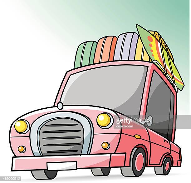 vector holiday car - hatchback stock illustrations, clip art, cartoons, & icons