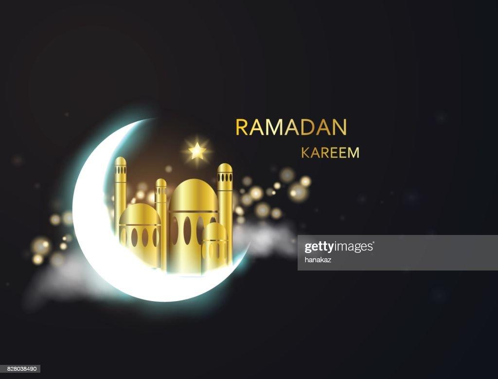 vector holiday illustration of shiny Ramadan Kareem.