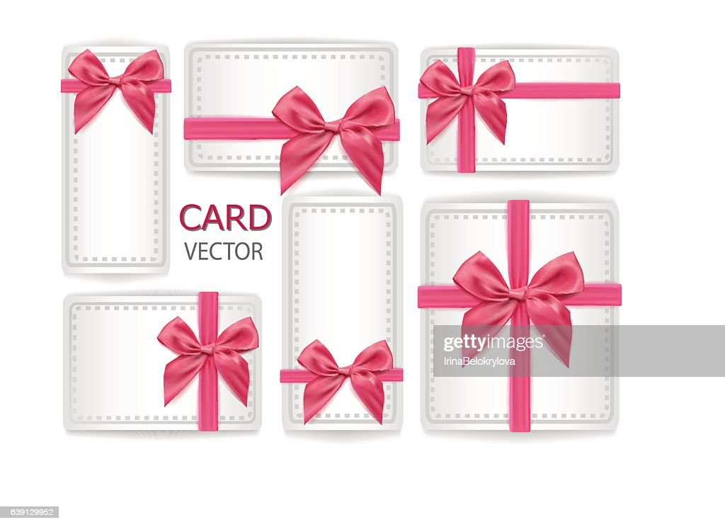 Vector holiday present, gifr packaging with silk ribbon bowtie set