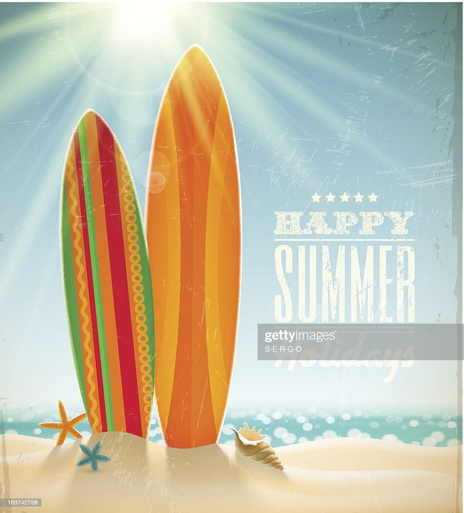 Vector holidays vintage design with surfboards