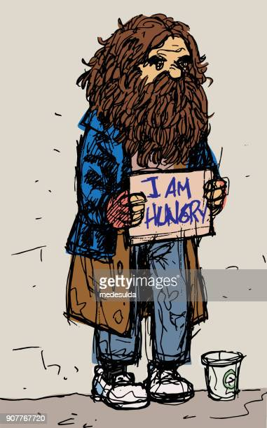 vector homeless man figure - vagabond stock illustrations, clip art, cartoons, & icons