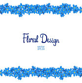 Vector horisontal border with forget-me-not flowers