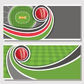 Vector horizontal banners for Cricket game