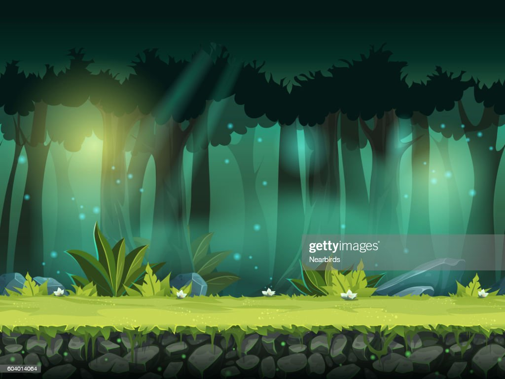 Vector horizontal seamless illustration of forest in a magical mist