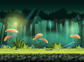 Vector horizontal seamless illustration of forest with mystical