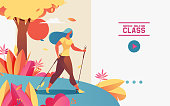 Vector horizontal web banner or landing page with young woman doing nordic walking