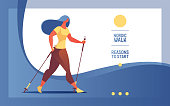 Vector horizontal web banner or landing page with young woman nordic walking.