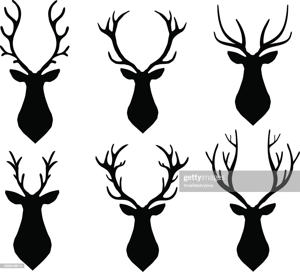 Vector horned deer silhouette set. Different horn shapes