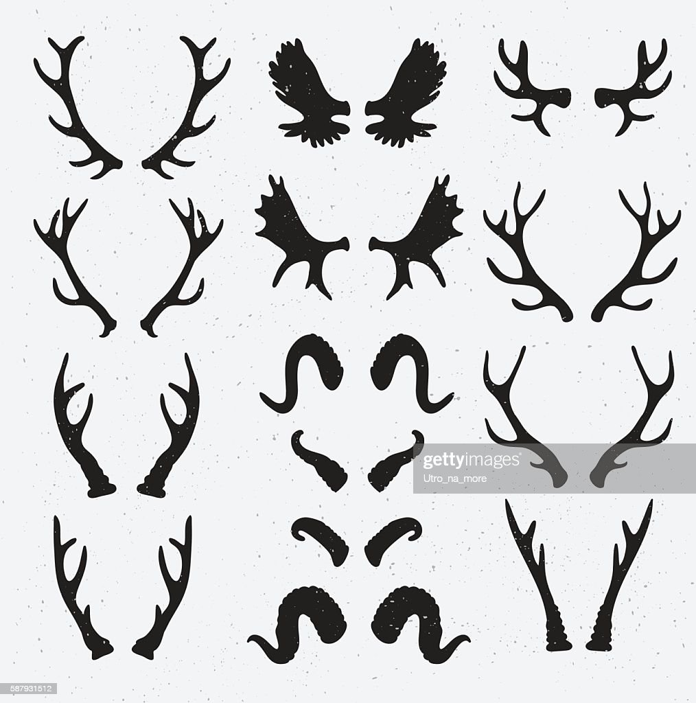 Vector Horns set silhouette on the grunge hipster background.