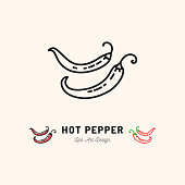 Vector hot pepper chili icon Mexican food Vegetables logo