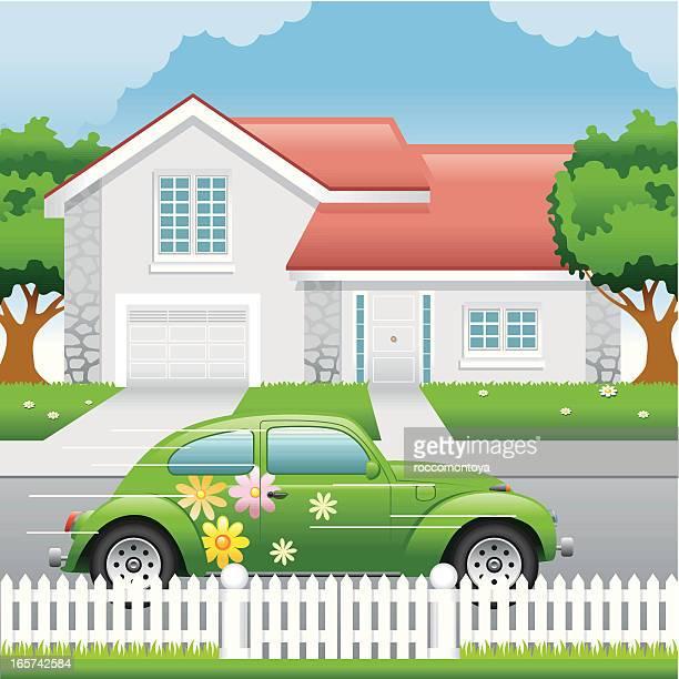 Vector House and Car