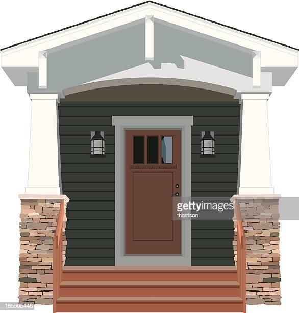 vector house door front bungalow - bungalow stock illustrations, clip art, cartoons, & icons