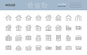 Vector house icons. Editable Stroke. The buildings are one and two-story, with a garage, a chimney. Door windows