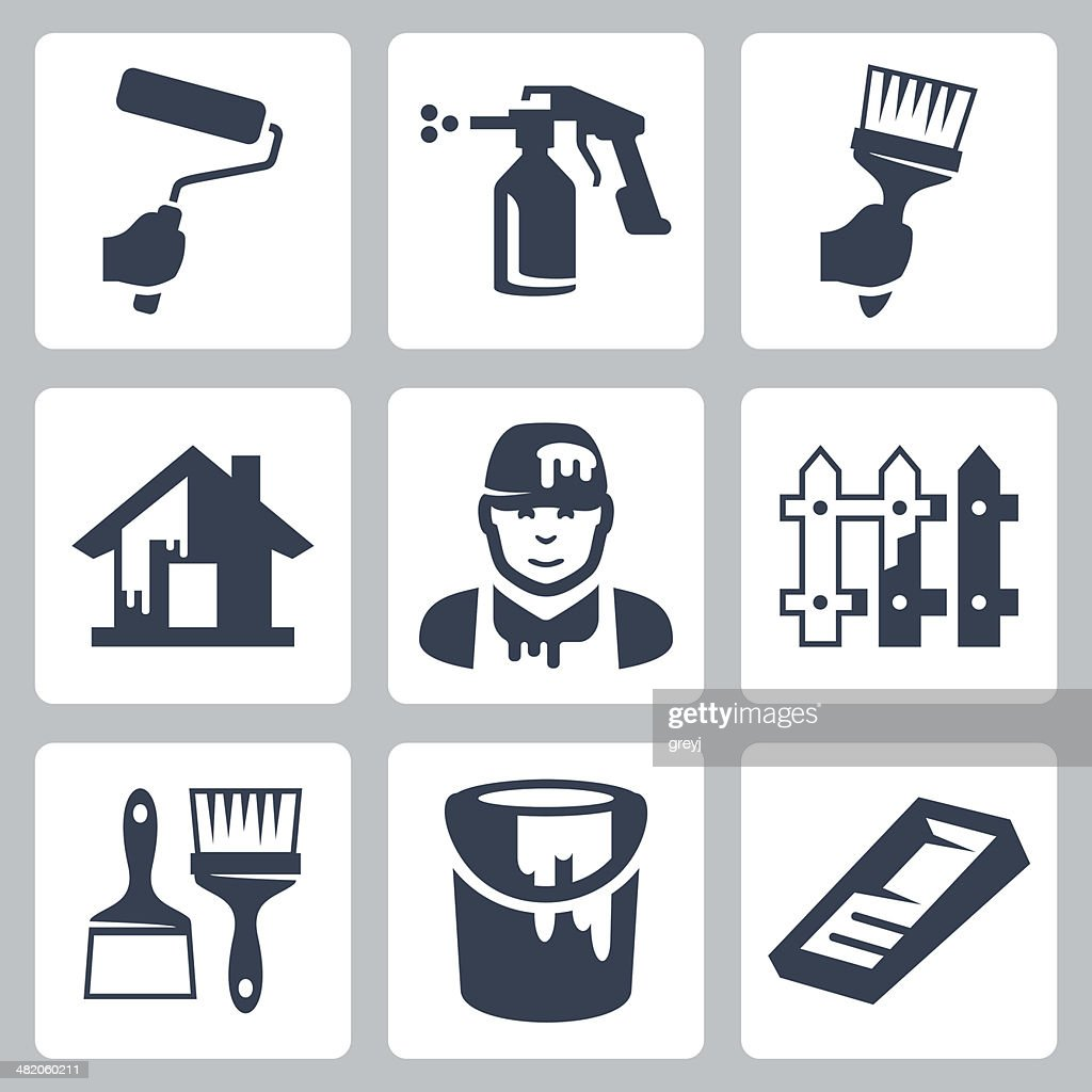 Vector house painter icons set