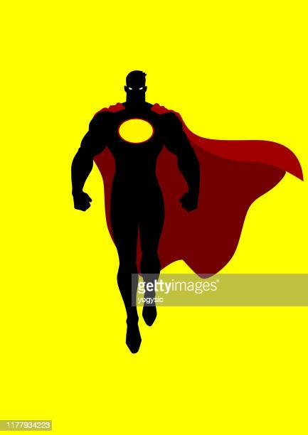vector hovering superhero silhouette isolated in color - cape garment stock illustrations