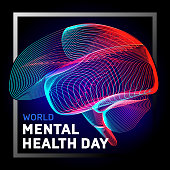 Vector human brain to world mental health day with abstract 3d geometry lines and gradient waves art to medical Alzheimer disease medicine think anatomy or aneurysm biology organ on dark background