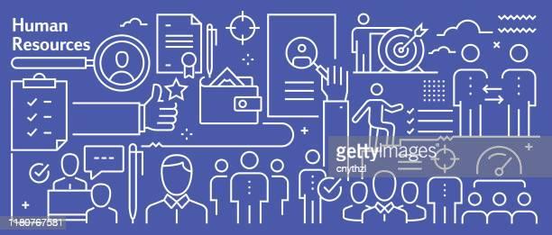 vector human resources banner design im trendigen linearen stil. linie kunst stil abstrakte muster für webseite, banner, präsentation - finanzwirtschaft und industrie stock-grafiken, -clipart, -cartoons und -symbole