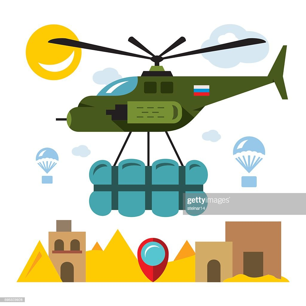 Vector Humanitarian aid in a war zone. Flat style colorful