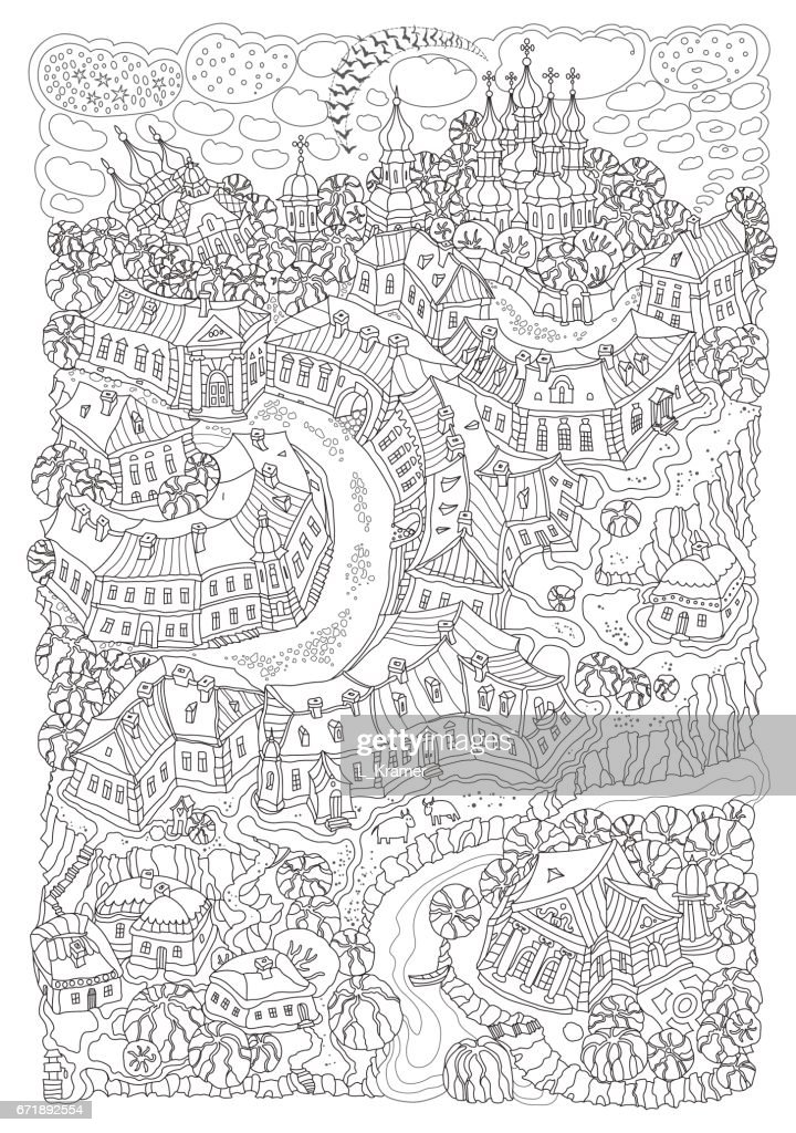 Vector humorous black and white outline contoured fantasy landscape, trees, fairy small town buildings, street, church and garden on a white background. T shirt print. Adults and children Coloring Book page, Black and white poster, album cover
