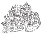 Vector humorous black and white outline contoured fantasy landscape, fairy small town buildings, street car, church and castle on a white background. T shirt print. Adults Coloring Book page