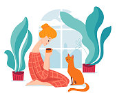 Vector hygge illustration with a woman drinks coffee with her cat.