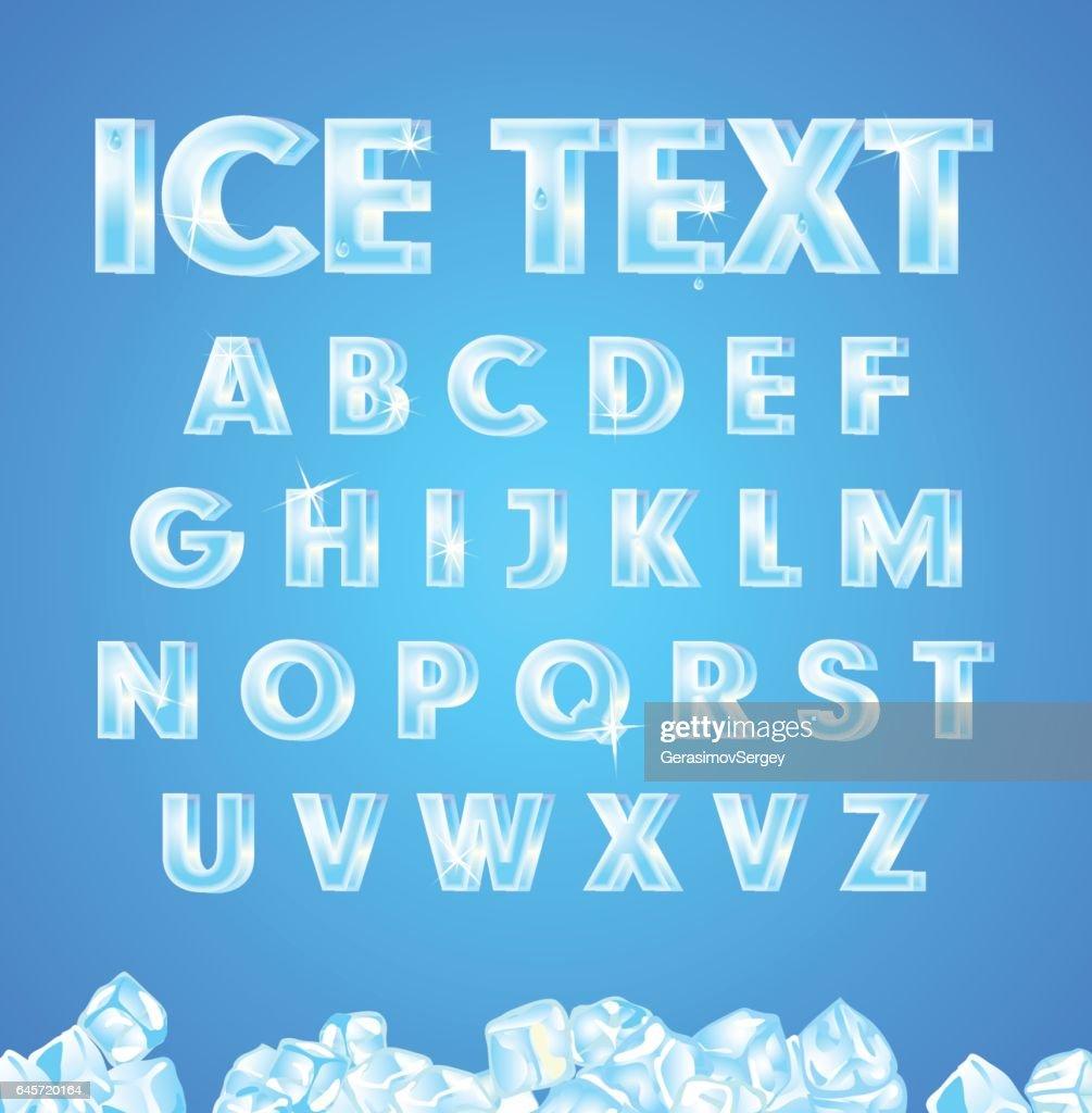 Vector ice alphabet on blue background.