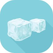 Vector Ice Cube Flat Icon.