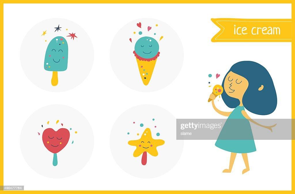 Vector ice-cream kawaii set with smiles. Happiness girl eat ice-