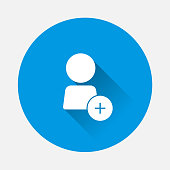 Vector icon add user, add person or add  friend on blue background. Flat image usre's profile with long shadow. Layers grouped for easy editing illustration. For your design.