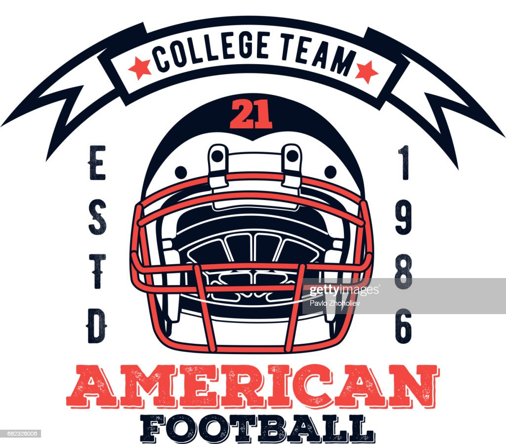 5bf4f97e3 Vector icon american football college team for design, print and internet  on white background :