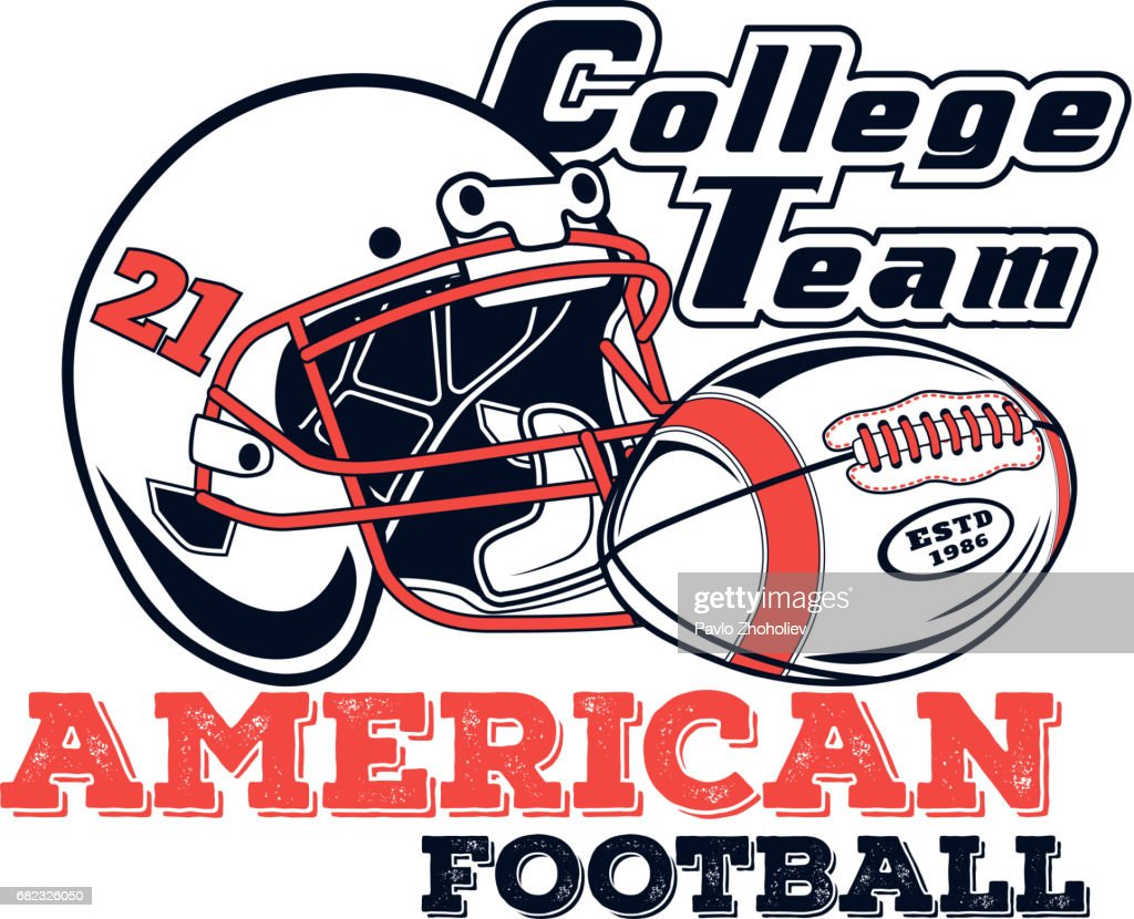 Vector icon american football college team for design, print and internet on white background