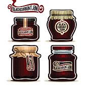 Vector icon Blackcurrant Jam in glass Jars