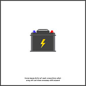 Vector icon car battery on white isolated background.