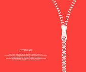 Vector icon closed and open zipper, fastener. zip. Red zip background