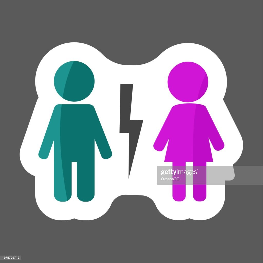 Vector icon  Colored sticker divorced couple . Man and woman characters quarrel. Symbol of  marriage problems. Layers grouped for easy editing illustration.  For your design.