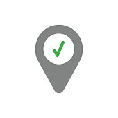 Vector icon concept of check mark inside map pointer