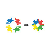 Vector icon concept of gear shaped puzzle pieces connect
