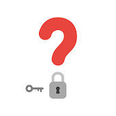 Vector icon concept of question mark with closed padlock and key