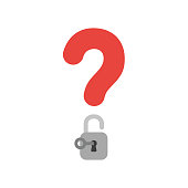 Vector icon concept of question mark with open padlock and key