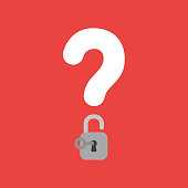 Vector icon concept of question mark with opened padlock with key on red background