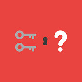 Vector icon concept of two keys, keyhole and question mark on red background