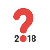 Vector icon concept of year of 2018 with question mark