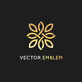 Vector icon design template and emblem  with petals and lines - luxury beauty spa