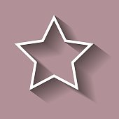 Vector icon five-pointed star c shadow