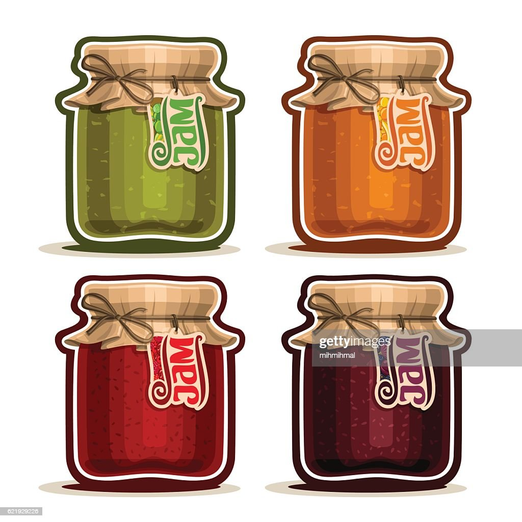 Vector icon Fruit Jam in glass Jar