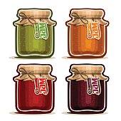 Vector icon Fruit Jam in glass Jar