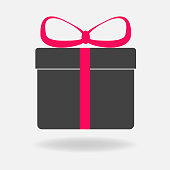 Vector icon gift box . Congratulations on the holiday, box with a bow