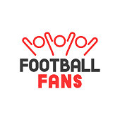Vector icon group sport fans with football fans lettering