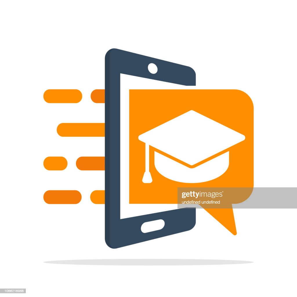 Vector icon illustration with the concept of a mobile application system for educational services