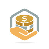 Vector icon illustration with the concept of financial management, saving money, donating money